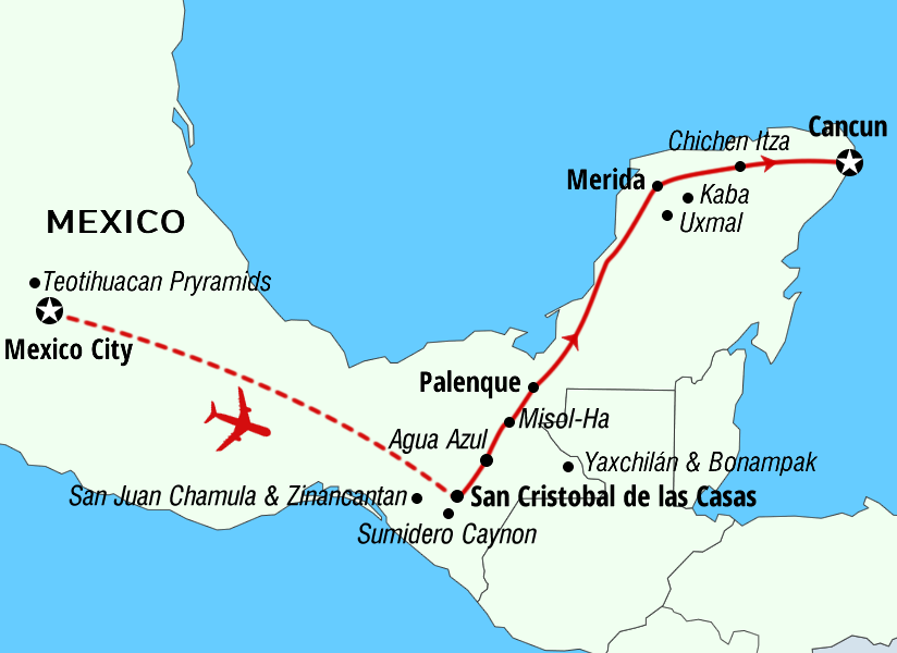 Mexico chiapas adventures map