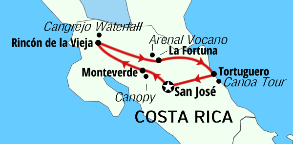 Costa Rica Jungle Experience Map