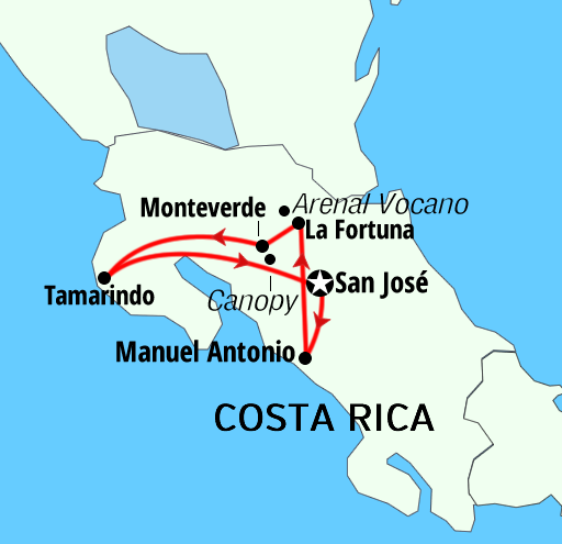 Costa Rica Highlight tours Holidays Map