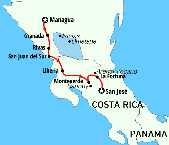 Nicaragua - Costa Rica package adventures active tours